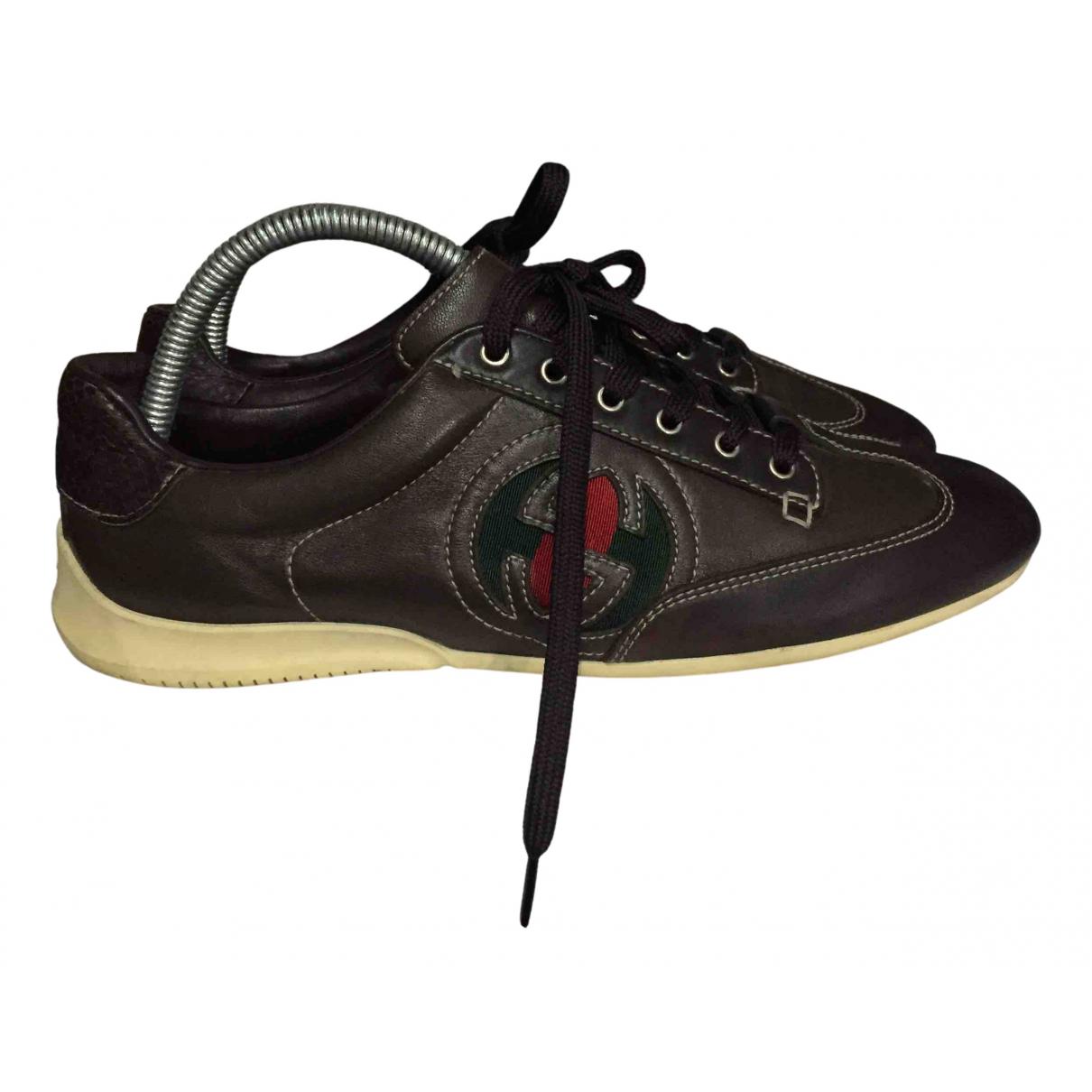 Gucci - Baskets   pour femme en cuir - marron