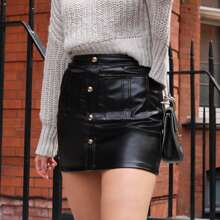 Button Front Pocket Patched PU Leather Skirt