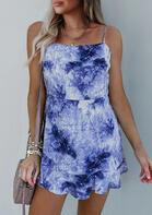 Tie Dye Spaghetti Strap Mini Dress without Necklace - Blue