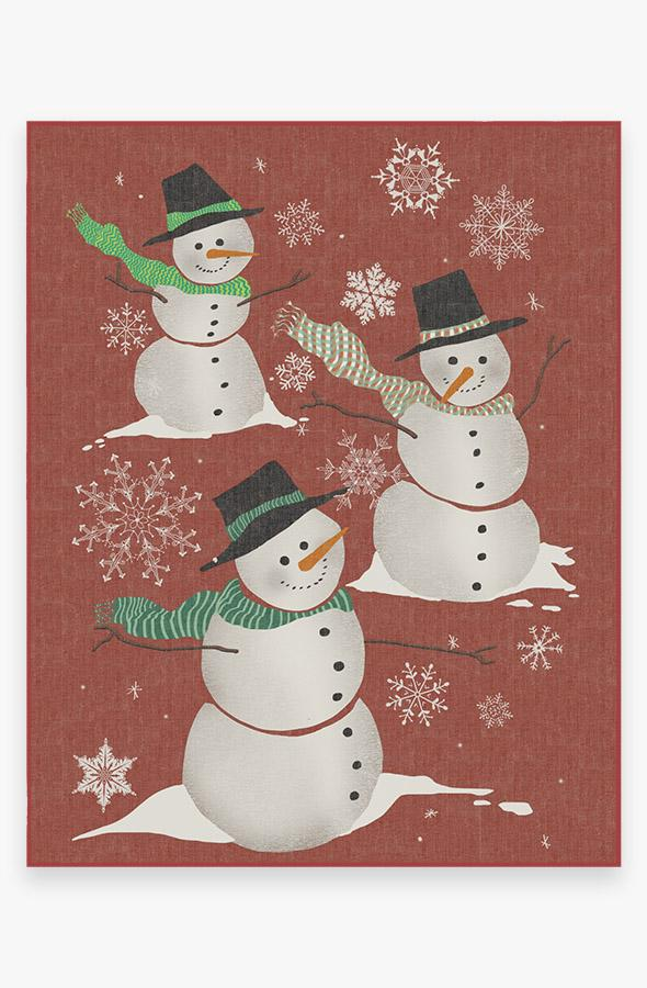 Washable Rug Cover | Snowman Rug | Stain-Resistant | Ruggable | 8'x10'