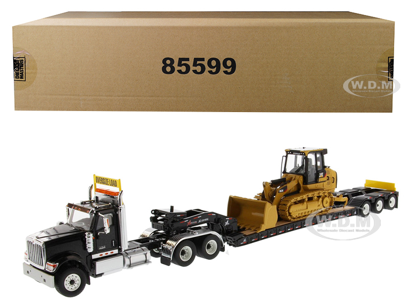 International HX520 Tandem Tractor Black with XL 120 Lowboy Trailer and CAT Caterpillar 963K Track Loader Set of 2 pieces 1/50 Diecast Models by Diec