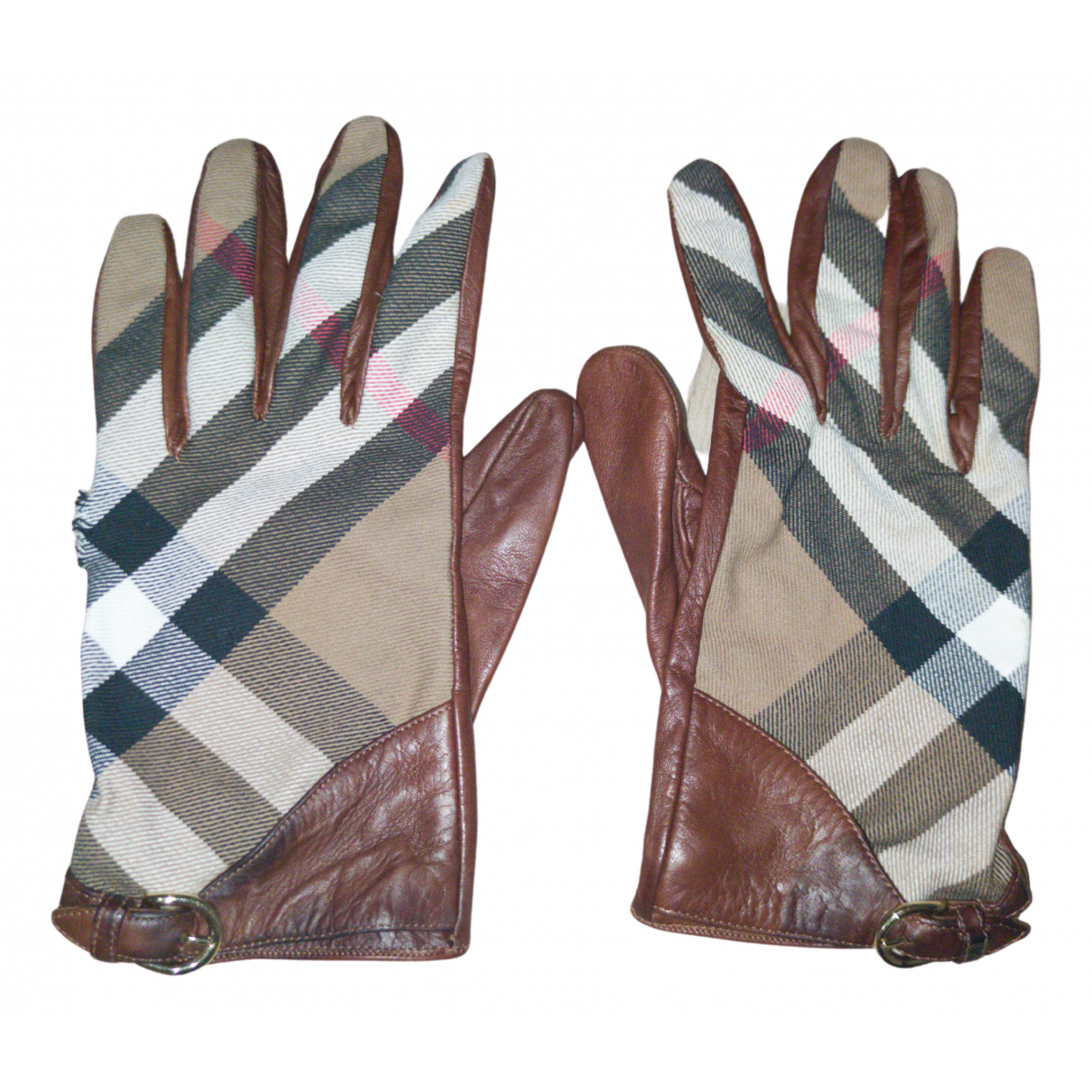 Burberry N Brown Leather Gloves for Women 8 Inches