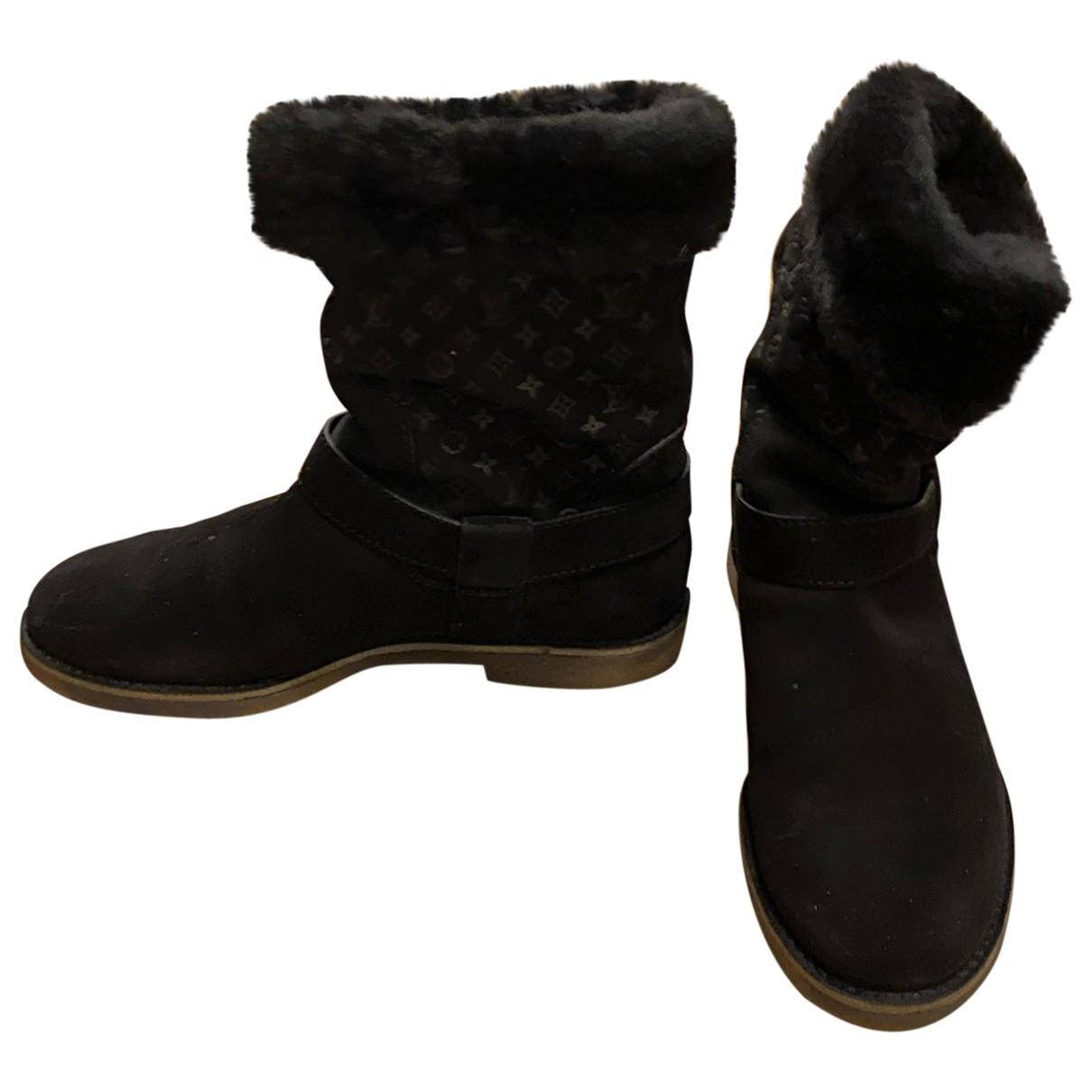 Louis Vuitton - Bottes   pour femme en suede - noir