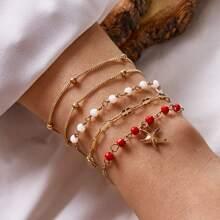 4pcs Beaded & Starfish Charm Bracelet