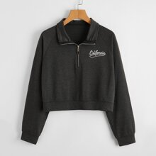 Letter Graphic Half Zip Crop Sweatshirt