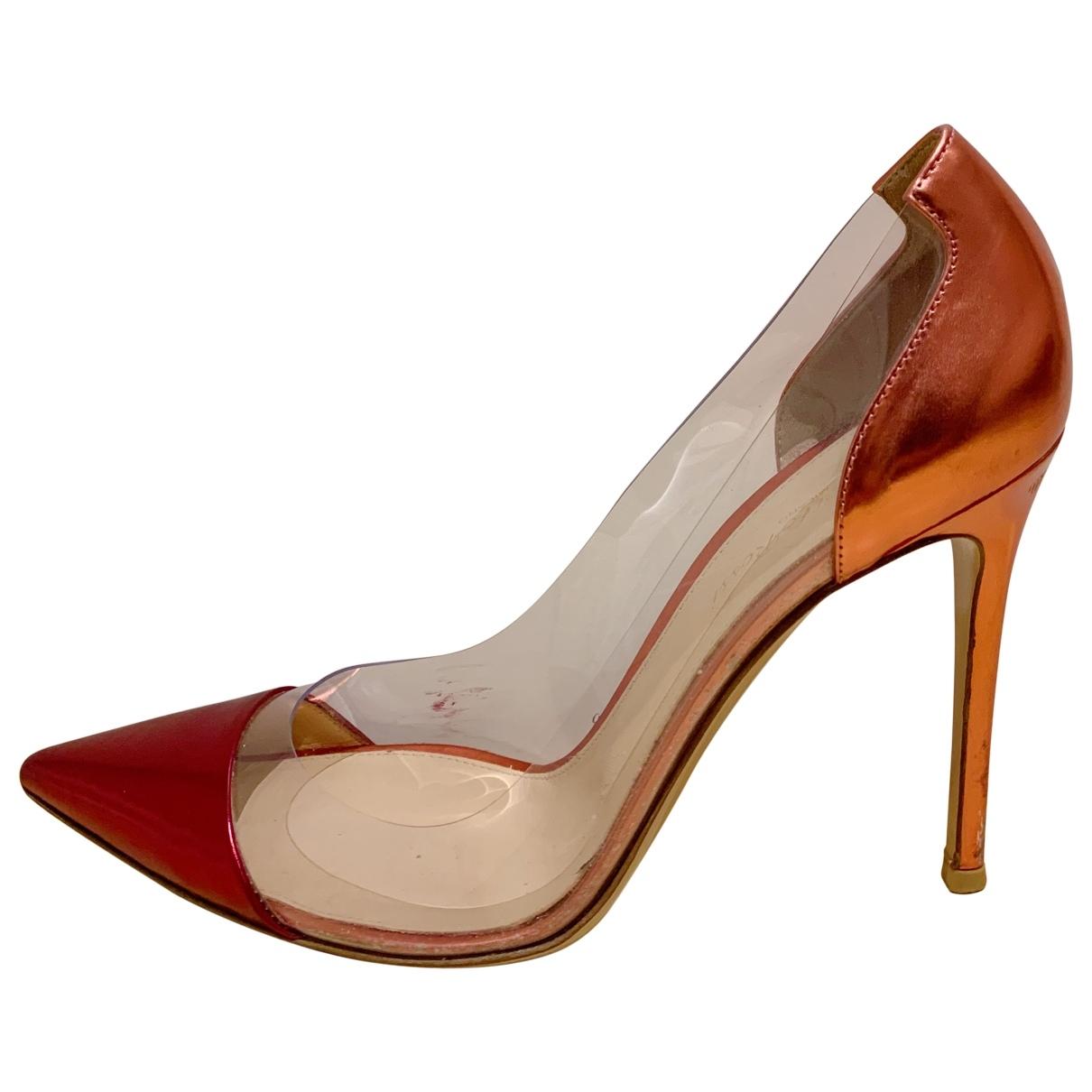 Gianvito Rossi Plexi Red Leather Heels for Women 40.5 EU