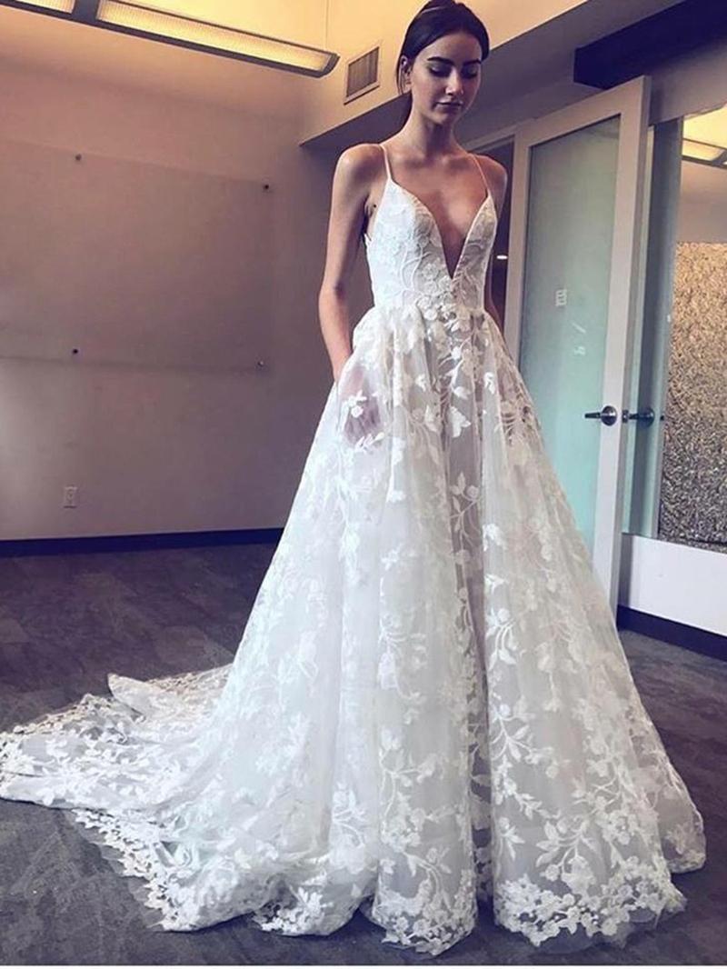 Ericdress Spaghetti Straps Pockets Lace Wedding Dress