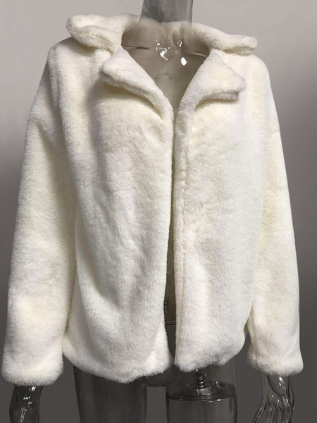 Milanoo Faux Fur Coats Pink Turndown Collar Long Sleeve Women Winter Coat