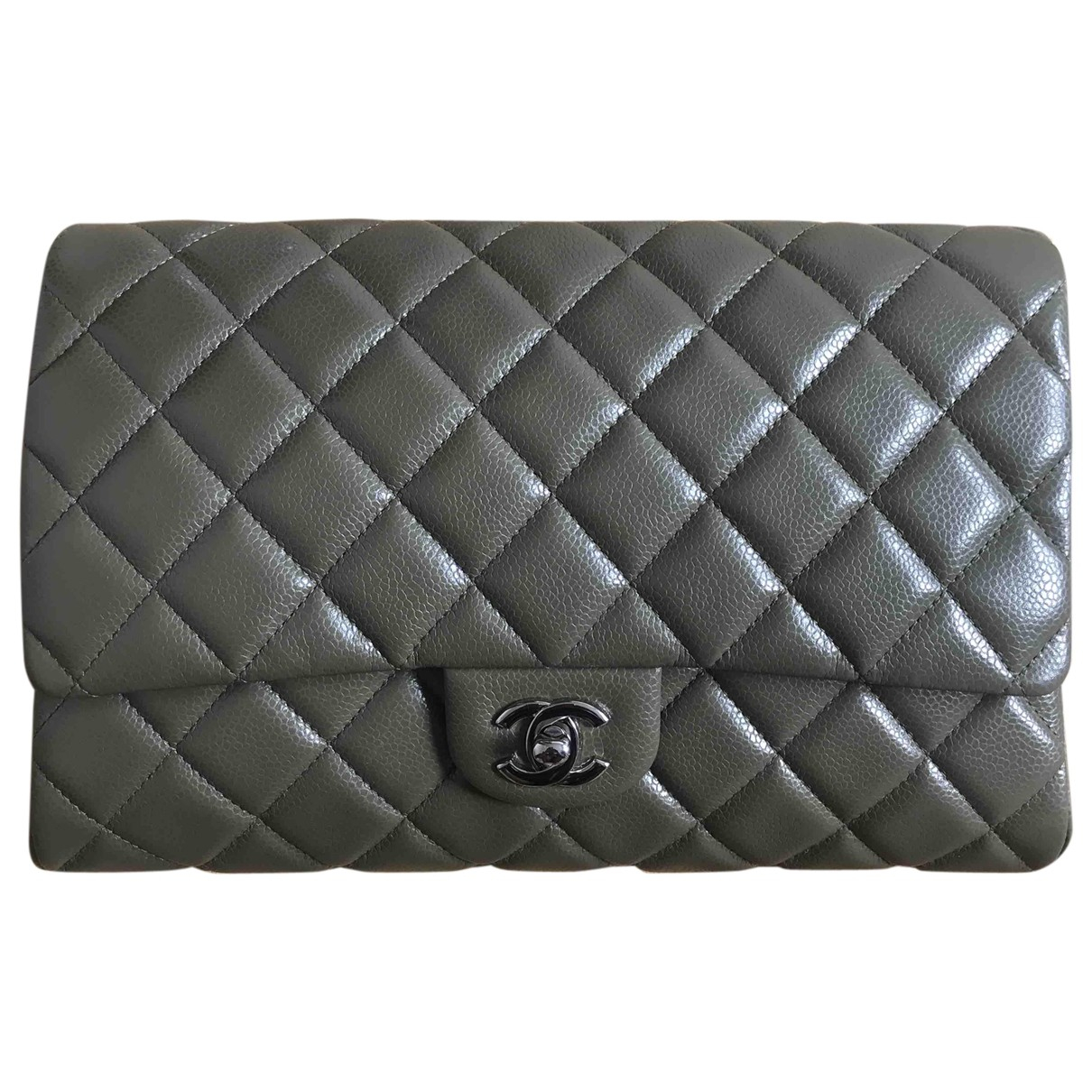 Chanel Timeless/Classique Khaki Leather Clutch bag for Women \N