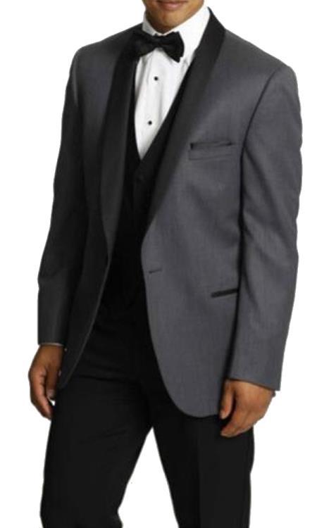 Mens One Button Tuxedo Shawl Lapel Dark Gray vested Suit
