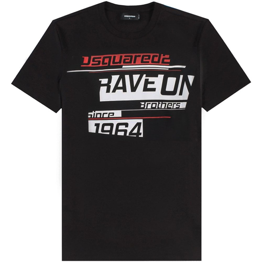 Dsquared2 Rave On Print T-Shirt Colour: BLACK, Size: EXTRA EXTRA LARGE