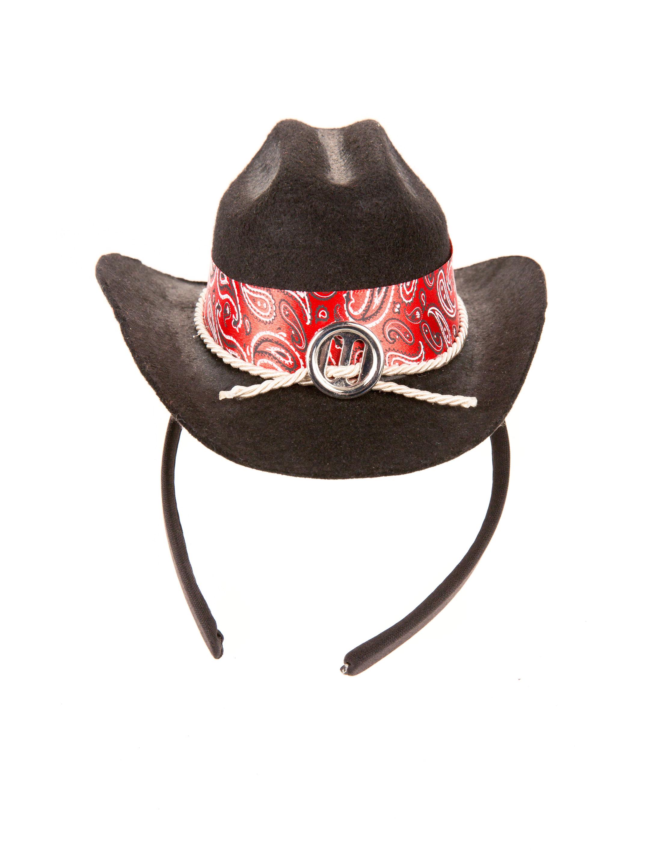 Kostuemzubehor Haarreif Mini Cowboyhut schwarz