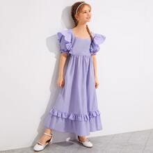 Girls Sweetheart Neck Ruffle Trim Dress