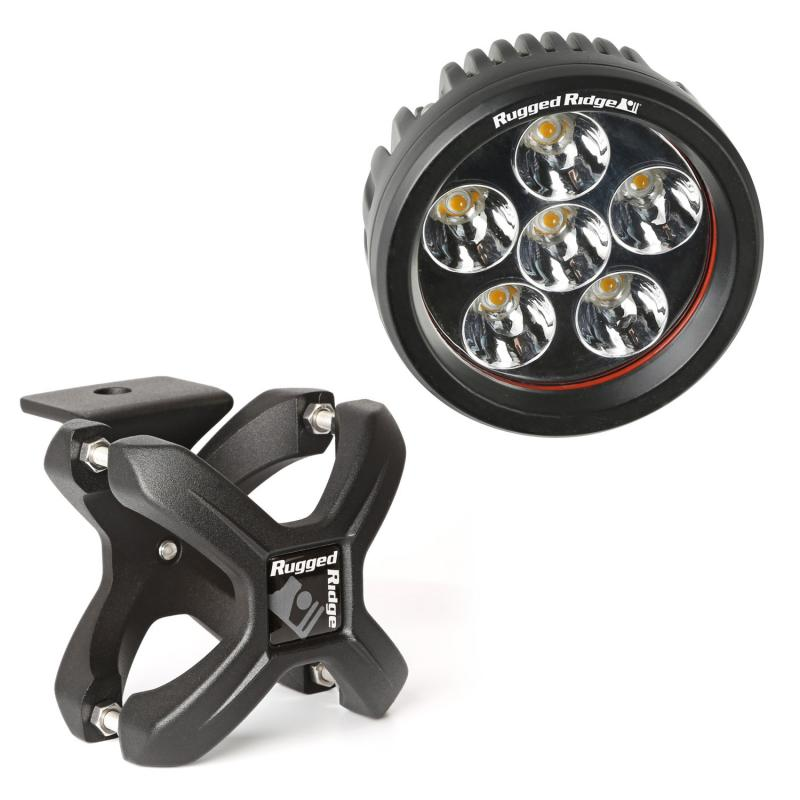 Rugged Ridge 15210.4 Light Kit, X-Clamp/Round LED, Small, Textured Black, 1 Piece