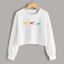 Dinosaur Print Drop Shoulder Crop Sweatshirt