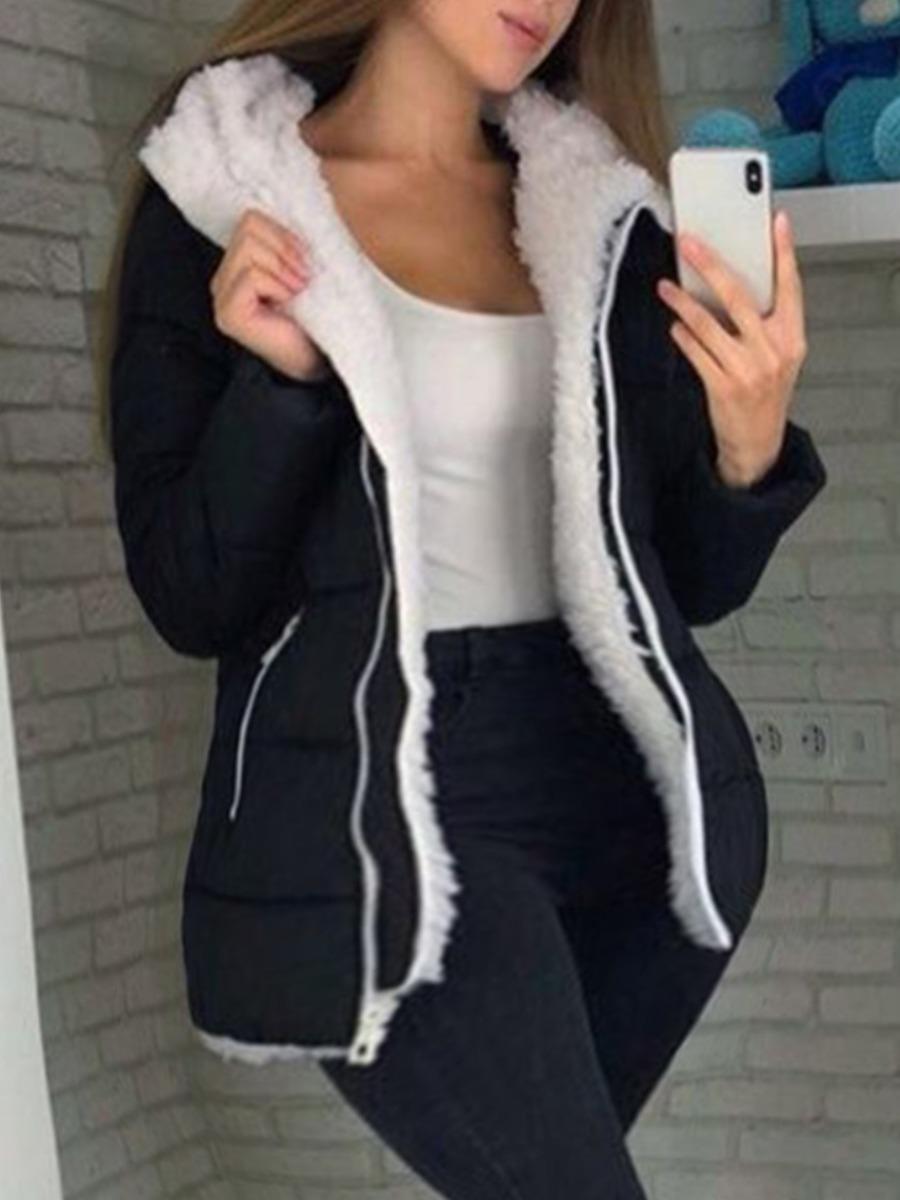 LW lovely Casual Turndown Collar Zipper Design Black Coat