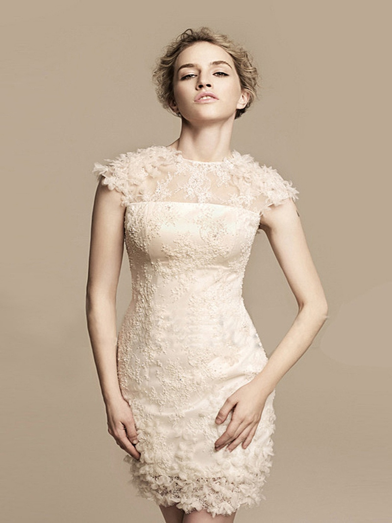Modern Sheath/Column Scoop Mini Cocktail Dress