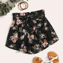 Paperbag Waist Belted Floral Print Shorts