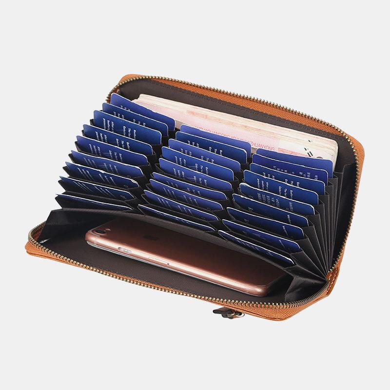 Women 27 Card Slots Long Wallet Zipper Phone Purse