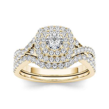 7/8 CT. T.W. Diamond 10K Yellow Gold Bridal Ring Set, 8 , No Color Family