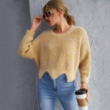 Pullover mit sehr tief angesetzter Schulterpartie und asymmetrischem Saum