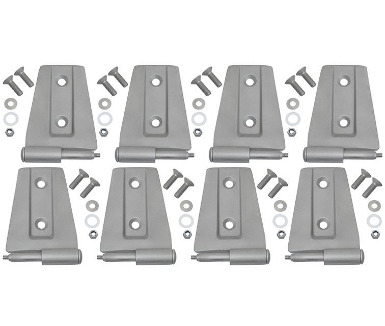 Jeep JK Door Hinge Set 8 Pieces 4 Door 07-18 Wrangler JK Bare Grey Kentrol 40576