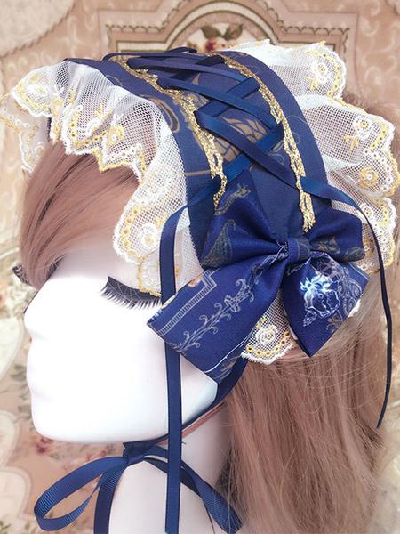 Milanoo Classic Lolita Headband Floral Lace Trim Bow Chiffon Lolita Headdress