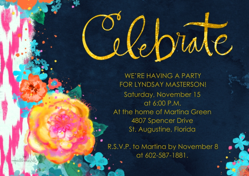 Birthday Party Invites 5x7 Cards, Premium Cardstock 120lb, Card & Stationery -Bold Floral Celebrate