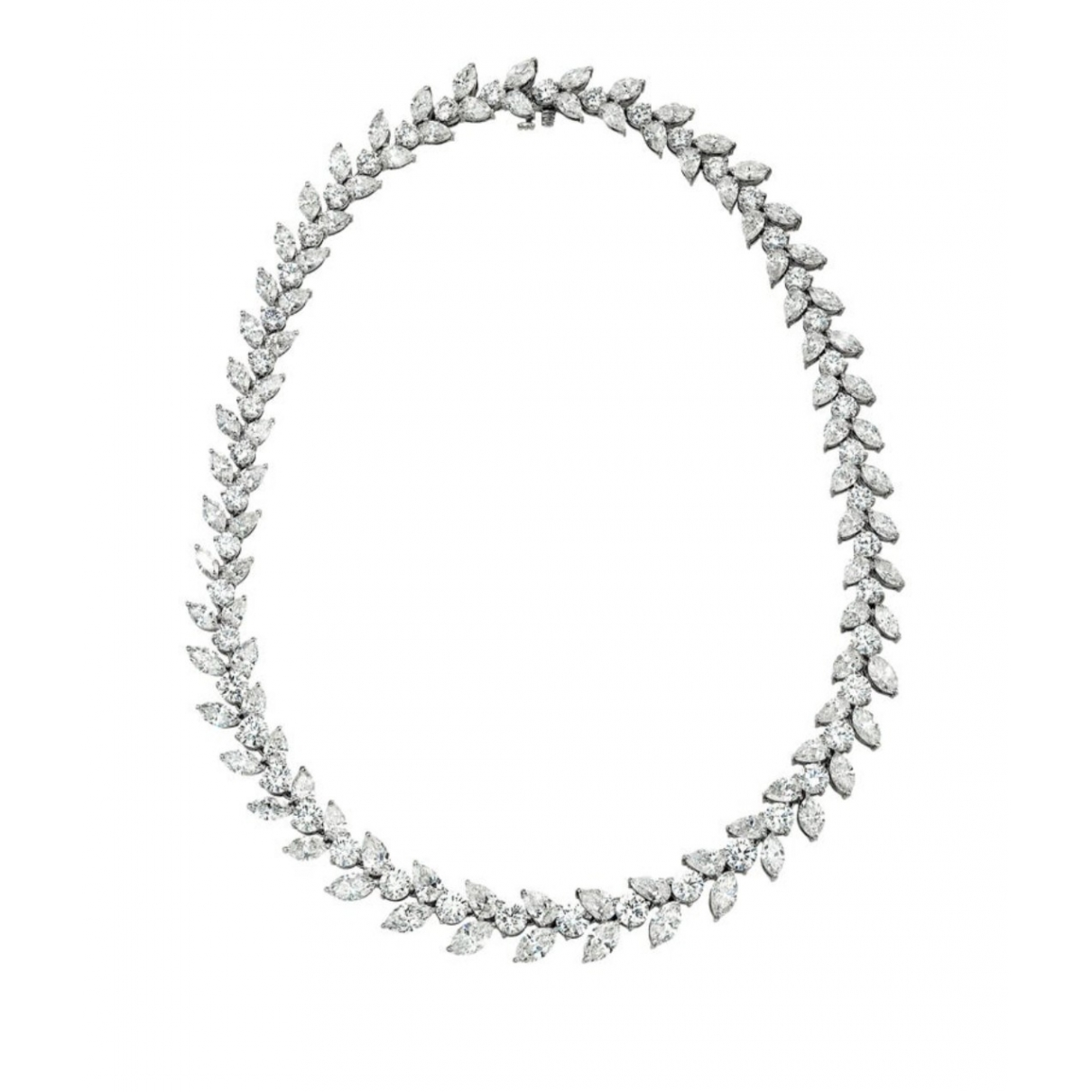 Non Signe / Unsigned Tennis Kette in  Weiss Weissgold