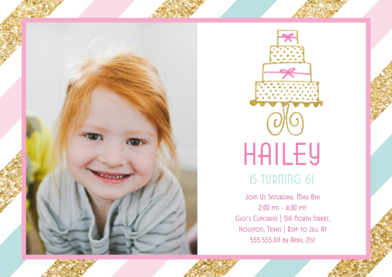 Kids Birthday Party Flat Matte Photo Paper Cards with Envelopes, 5x7, Card & Stationery -Birthday Cake by Posh Paper