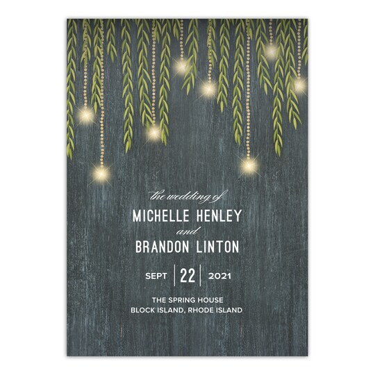 20 Pack of Gartner Studios® Personalized Glowing Willow Flat Wedding Program in Charcoal | 5