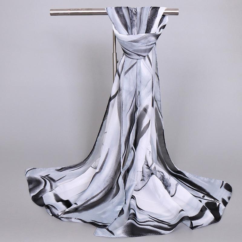 Ericdress Elegant Lotus Printed Chiffon Scarf