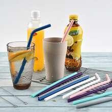 12pcs Random Color Straw & 2pcs Cleaning Brush