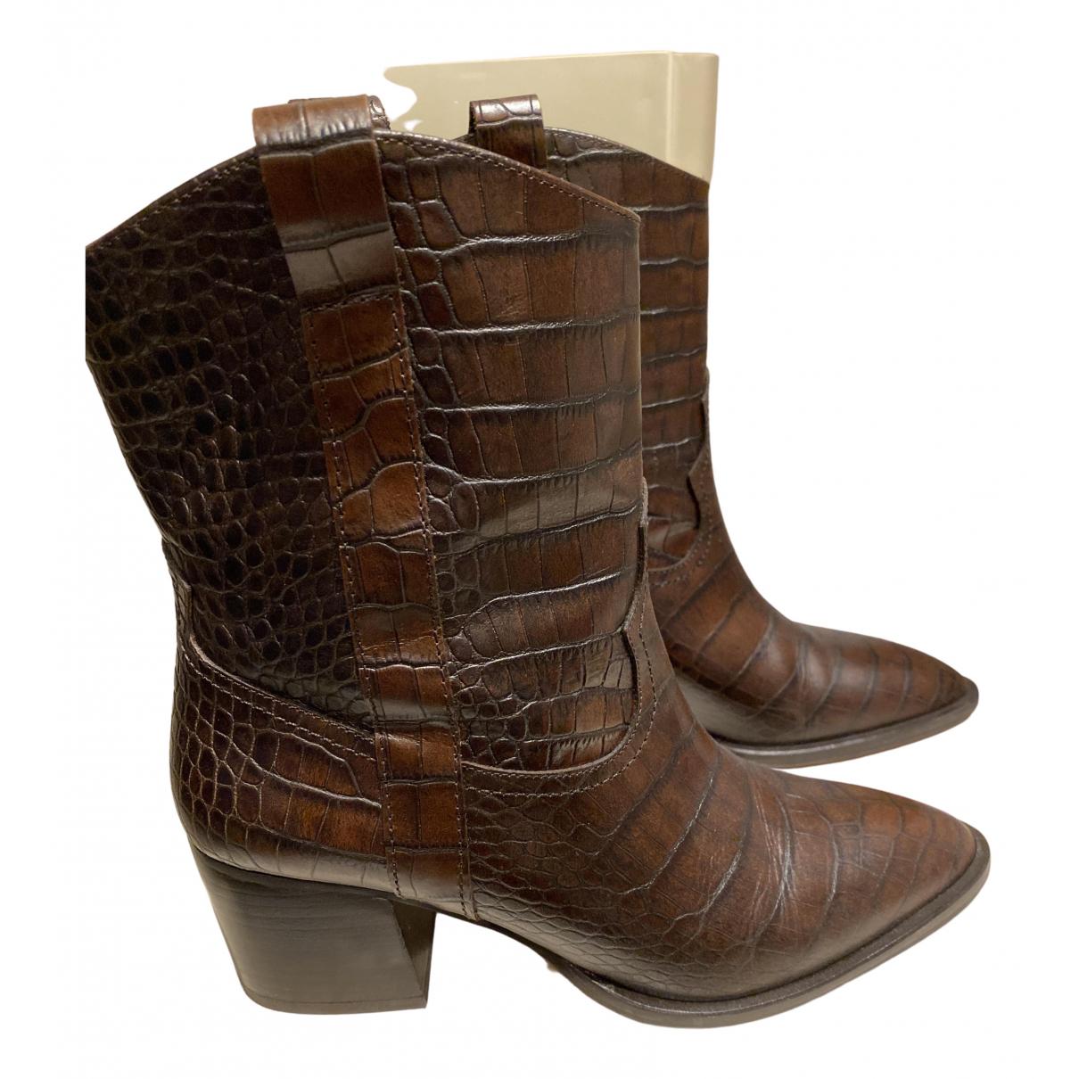 Massimo Dutti - Boots   pour femme en cuir - marron