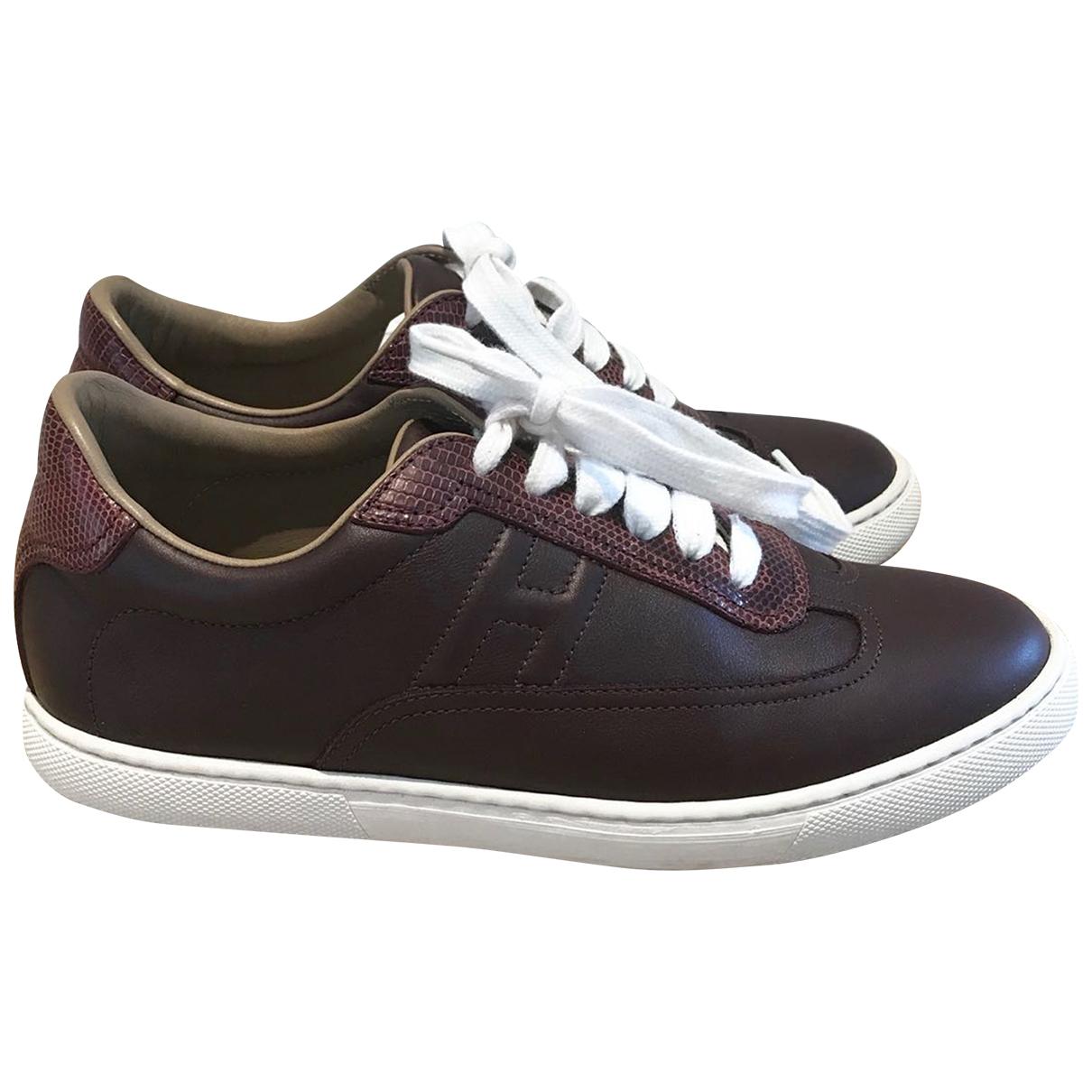 Hermes Quicker Sneakers in  Bordeauxrot Leder