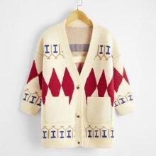 Strickjacke mit Argyle Muster und zwei Taschen