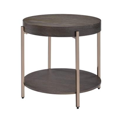 BM218615 Wood and Metal End Table with 1 Shelf  Brown and
