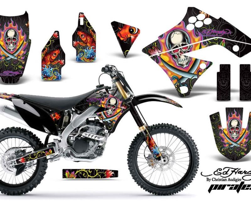 AMR Racing Dirt Bike Graphics Kit Decal Sticker Wrap For Kawasaki KX250F 2009-2012áEDHP BLACK