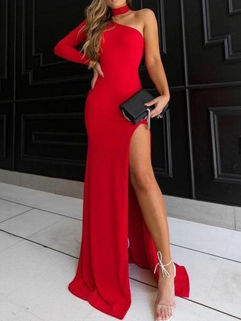 Ericdress Sheath One Shoulder Long Sleeve Red Evening Dress