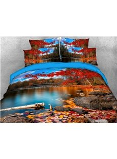 Red Maple Leaves and Lake 3D Autumn Duvet Cover Set 4-Piece Scenery Bedding Sets