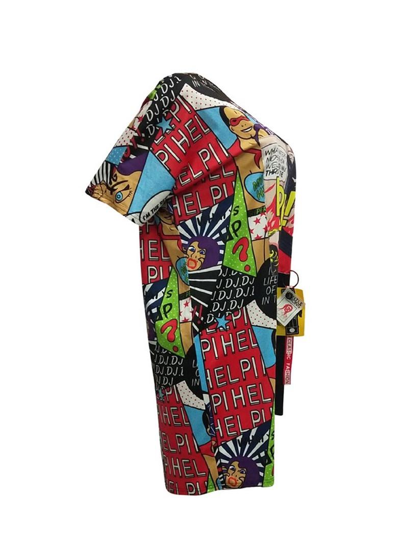 Ericdress Short Sleeve Cartoon Asymmetric Casual Batwing Sleeve Dress