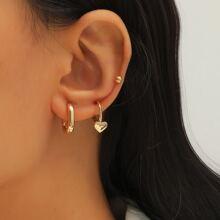 3 Stuecke Ohrringe mit Herzen & ovalem Dekor
