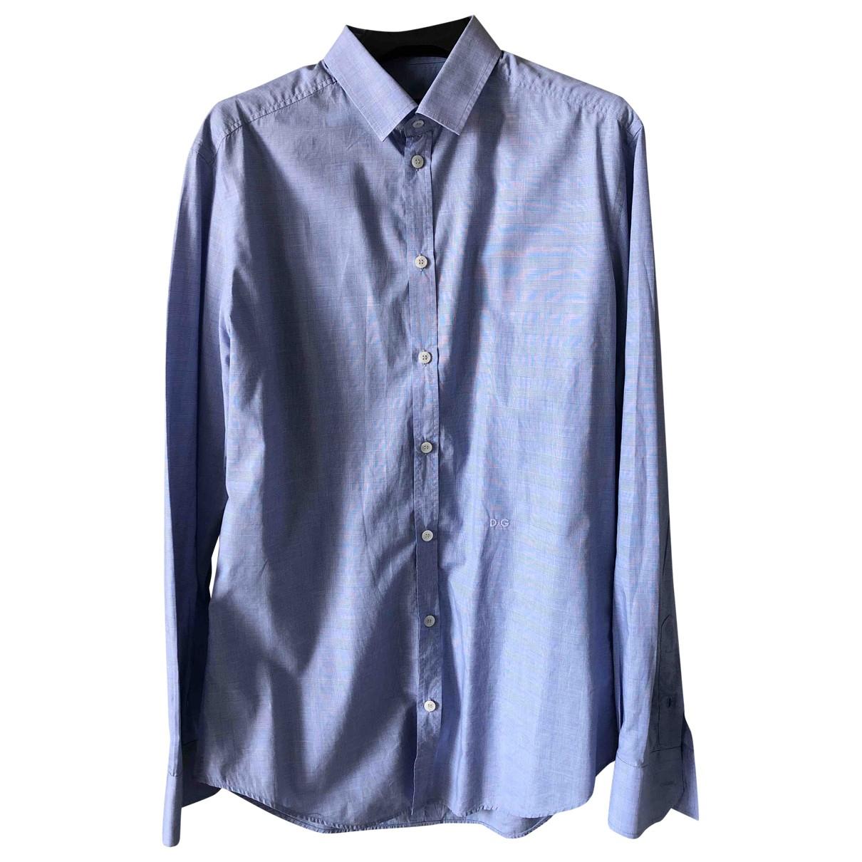 D&g \N Blue Cotton Shirts for Men 40 EU (tour de cou / collar)