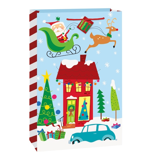 Large Colorful Santa Christmas Gift Bag By Unique | Michaels®