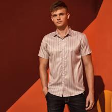 Men Polka Dot Button Up Shirt