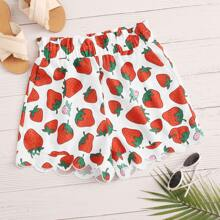 Strawberry Print Paperbag Waist Scallop Edge Shorts