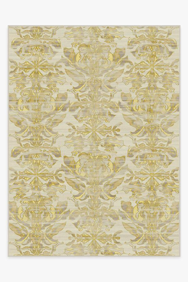 Washable Rug Cover & Pad | Transitional Damask Gold Rug | Stain-Resistant | Ruggable | 9'x12'