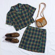 M-slit Button Front Tartan Top & Skirt Set