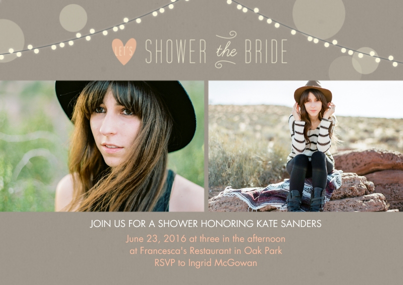 Wedding Shower Invites 5x7 Cards, Premium Cardstock 120lb with Elegant Corners, Card & Stationery -Lights Bridal Shower Wedding Set