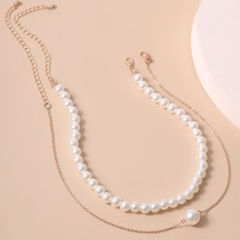 2pcs Faux Pearl Decor Necklace